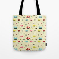 boats Tote Bags featuring Boats by Annika Bäckström
