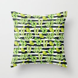 cactuses pattern on black watercolor stripes Throw Pillow