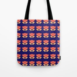 Japanese style flowers pattern blue Tote Bag