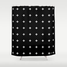 White Plus on Black /// www.pencilmeinstationery.com Shower Curtain