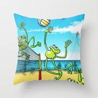 volleyball Throw Pillows featuring Olympic Volleyball Frog by Zoo&co on Society6 Products