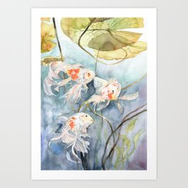 Koi Fish Painting, Underwater Water Lily Art Print