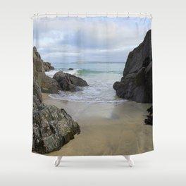 Turquoise Waves Crashing on Porthmeor Rocks Shower Curtain