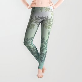 Curly frost patterns on a pastel background Leggings