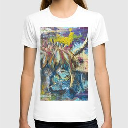 Highland Cow Bull Abstract Modern Rustic Painting Navy Blue Pink Decor T-shirt