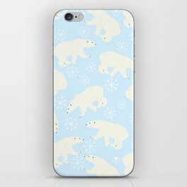 Polar Bear Snow Flake Pattern iPhone Skin
