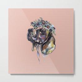 Beagle with a flower wreath - by Fanitsa Petrou Metal Print