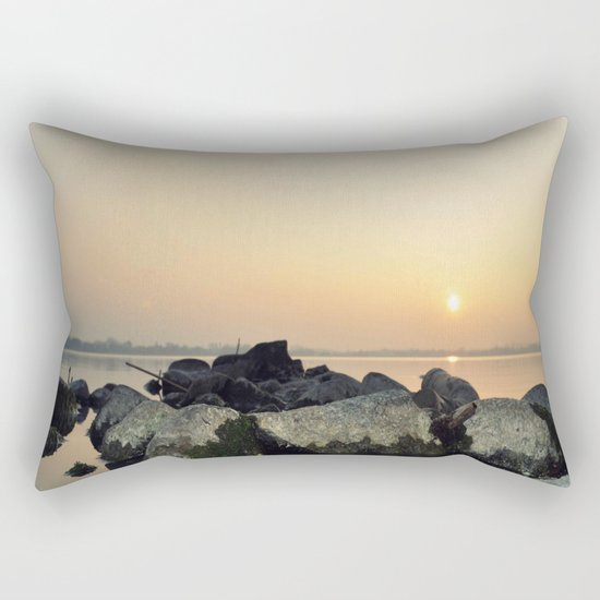 sea stones sunset ### Rectangular Pillow