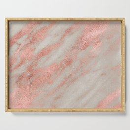 Marble Rose Gold White Marble Foil Shimmer Serving Tray