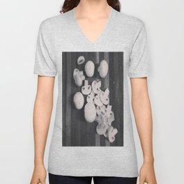 Black And White Sliced Shrooms Unisex V-Neck