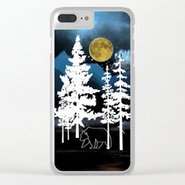 Full Moon Rising II Clear iPhone Case