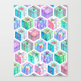Christmas Gift Hexagons Canvas Print