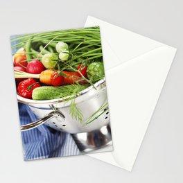 Fresh vegetables in metal colander with blue napkin Stationery Cards