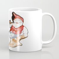 gnome Mugs featuring Reclining Gnome  by Ryan Hodge Illustration