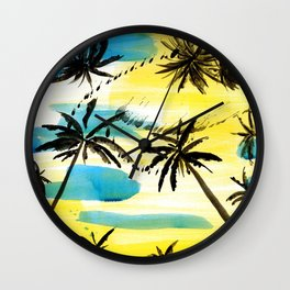 Under the palm trees Wall Clock