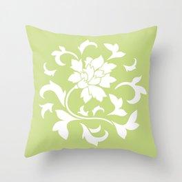 Oriental Flower - Daiquiri Green Circular Pattern Throw Pillow