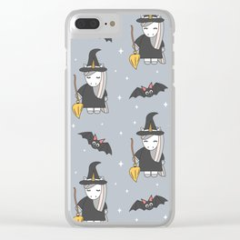 cute cartoon unicorn witch with broom and bats halloween pattern Clear iPhone Case