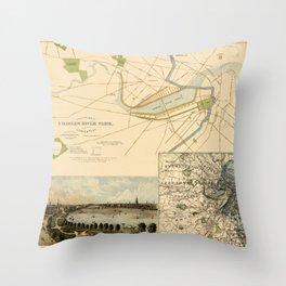 Map of Boston 1880 Throw Pillow