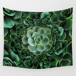 ORNATE JADE & DARK GREEN SUCCULENT  GARDEN Wall Tapestry