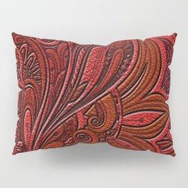 Elegant Oriental Floral Swirl on Red Leather Pillow Sham