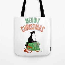 Meowy Christmas Tuxedo Cat Clawed Present xmas gift T-Shirt Tote Bag