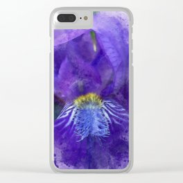 Purple Iris Watercolor Clear iPhone Case