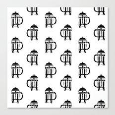 French Press linocut black and white pattern coffee art kitchen pattern art Canvas Print