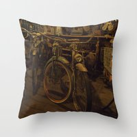 bicycles Throw Pillows featuring Bicycles by Gurevich Fine Art