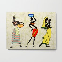 Woman ethic african people collage Metal Print