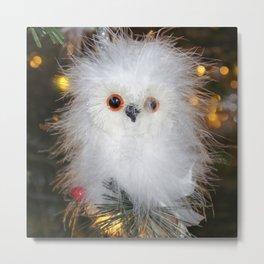 Cute fluffy Snow Owl Metal Print