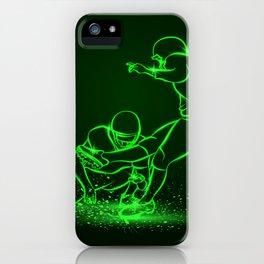 American Football Kicker Hits the Ball. Green Neon Sports iPhone Case