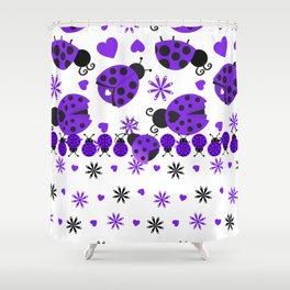 Cute Ladybugs Purple Shower Curtain