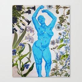 Ice Girl Dancing Woman Amongst Flowers Canvas Print