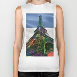 The Eiffel Tower and French Flag,  Biker Tank