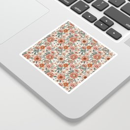 70s flowers - 70s, retro, spring, floral, florals, floral pattern, retro flowers, boho, hippie, earthy, muted Sticker