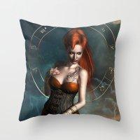 zodiac Throw Pillows featuring Zodiac Scorpio by Britta Glodde