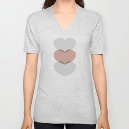 Hearts - Cocoa & Gray Unisex V-Neck