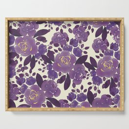 Elegant ivory gold lavender purple watercolor floral  Serving Tray