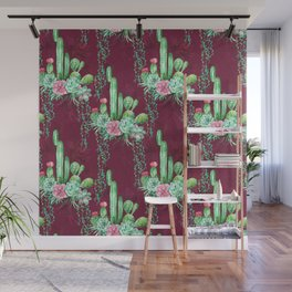 Watercolor cactus and succulents bouquets on the burgundy background Wall Mural