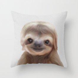 sloth print, children's room decor,  sloth art Throw Pillow