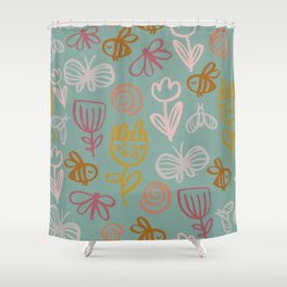 Bee with Flowers Shower Curtain