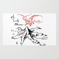 smaug Area & Throw Rugs featuring Smaug and The Lonely Mountain by FloresArts