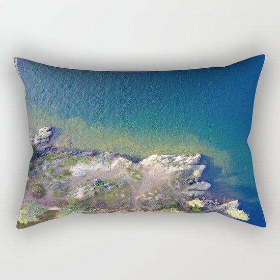 ocean rock green blue Rectangular Pillow