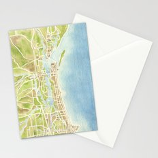 Biloxi Mississippi coast watercolor map Stationery Cards