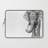 elephant Laptop Sleeves featuring Ornate Elephant by BIOWORKZ