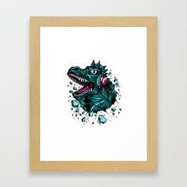Dino with Headphones Green Cyprus Framed Art Print