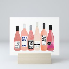 Rose Wine Bottles Mini Art Print