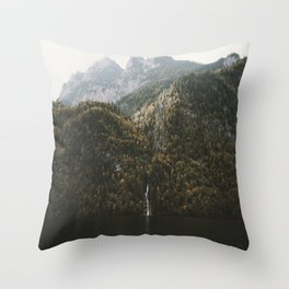 Autumn Waterfall at the Mountain Lake - Landscape Photography Throw Pillow