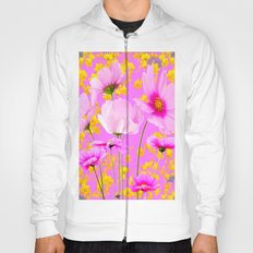 YELLOW COSMO FLOWERS  PURPLE ART  PATTERNS Hoody