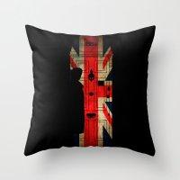 221b Throw Pillows featuring Sherlock Holmes door 221b by BomDesignz